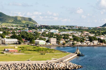 Colorful St Kitts twon in the Caribbean Stock Photo