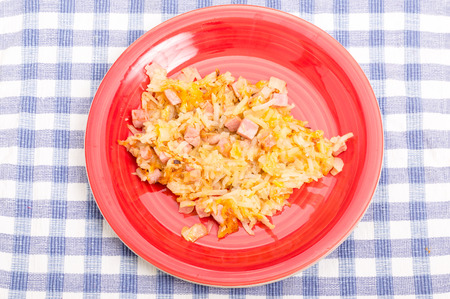 browns: Hash browns with ham and cheese Stock Photo