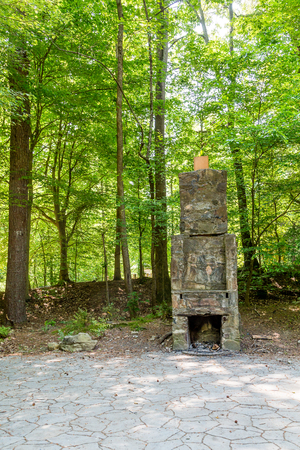 outdoor fireplace: An old stone chimney in a green woodland park