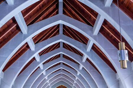 rafters: Natural wood roof and cement arched beams in an old abbey at the Monastery of the Holy Spirit in Conyers