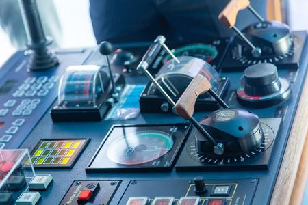 Electronics and controls on the bridge of a luxury cruise ship Stock Photo