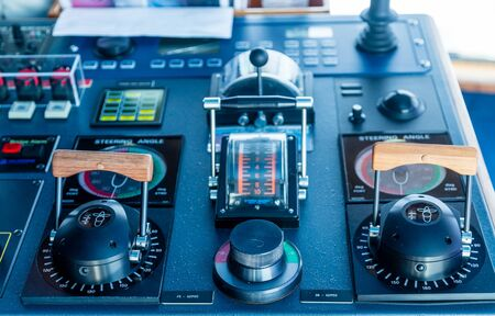industry electronic: Electronics and controls on the bridge of a luxury cruise ship Stock Photo