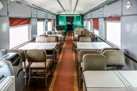 Dining car on an old vintage train