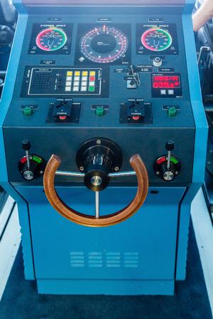 controls: Electronics and controls on the bridge of a luxury cruise ship Stock Photo