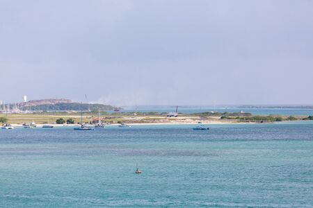 beatrix: A commercial airliner landing at Queen Beatrix airport on Aruba Stock Photo