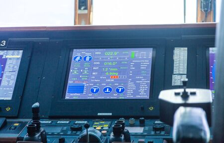 Electronics and controls on the bridge of a luxury cruise ship Stok Fotoğraf