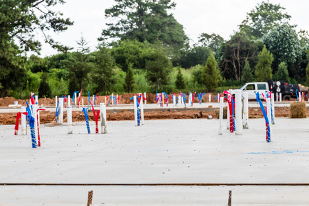 slab: PVC pipes in concrete slab of new home construction