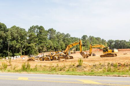 subdivision: Heavy equipment on a new residential subdivision project
