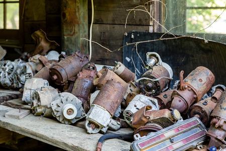 junkyard: A pile of old distributors in a junkyard