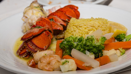 lobster tail: A nice dinner of Lobster Tail with Shrimp Vegetables and Rice