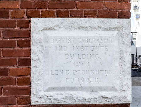 tabernacle: Cornerstone from 1910 on the Baptist Tabernacle in Atlanta, Georgia