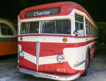 Exterior of a classic old city transit bus