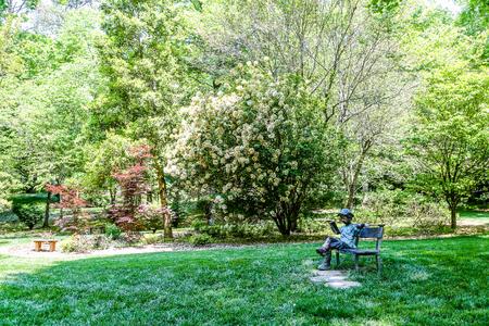 Beautiful landscaping in a lush, green public garden