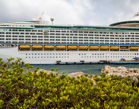 liner transportation: View of balconies and side of a luxury cruise ship in the Caribbean Stock Photo