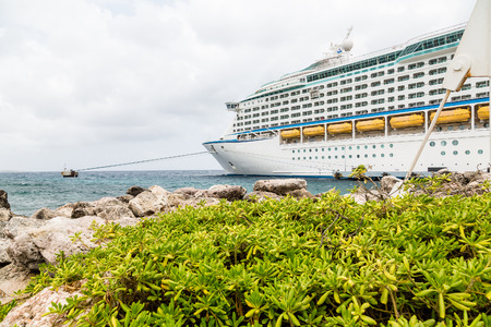 lifeboats: View of balconies and side of a luxury cruise ship in the Caribbean Stock Photo