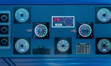 controls: Controls on Bridge of a luxury cruise ship