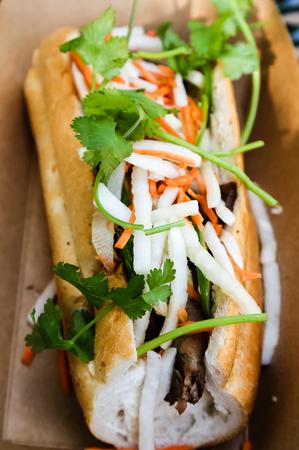 A delicious Vietnamese Bahn Mi sandwich Stock Photo