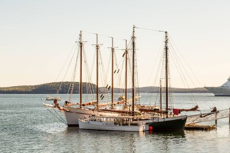 Three and Four Masted Schooners at Pier