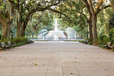 Walkway under southern oaks toward the fountain in Forsyth Park, Savannah, Georgia