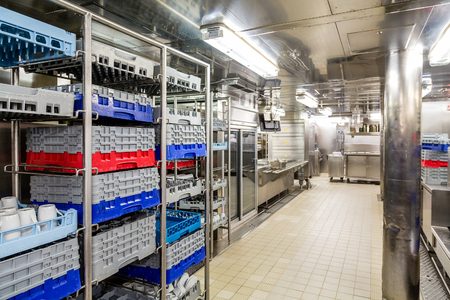dishwashing: Commercial kitchen dishwashing area