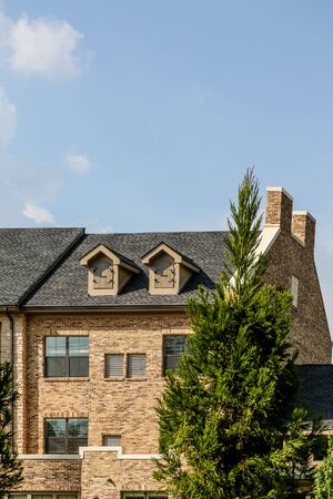 townhomes: Modern Light Brick Condos with Dormers and cypress tree