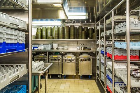 dishwashing: Commercial kitchen dishwashing area