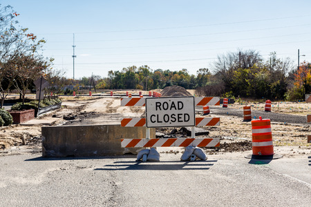 road closed: Road Closed and Barriers at New Road Construction Stock Photo