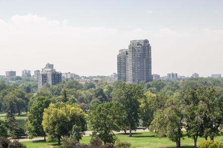 skyline of denver: View of the Denver skyline across green park