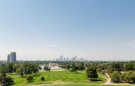 denver city park: View of the Denver skyline across green park