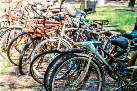 junkyard: Rusty old Bikes in a Junkyard Stock Photo