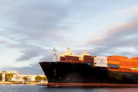 Huge freighter sailing up Savannah River