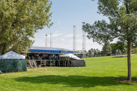 venue: Stage at Outdoor Concert Venue on green hill