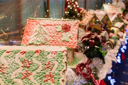 Christmas decorations with traditional gingerbread houses