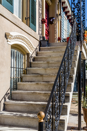 concrete steps: Old Concrete Steps with Wrought Iron Railings Stock Photo