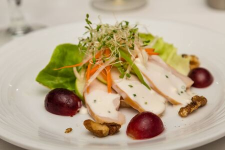 Appetizer Salad with Sliced Chicken and Grapes, sprouts and walnuts
