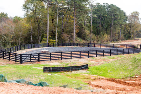 silt: New Retention Pond at construction site Stock Photo