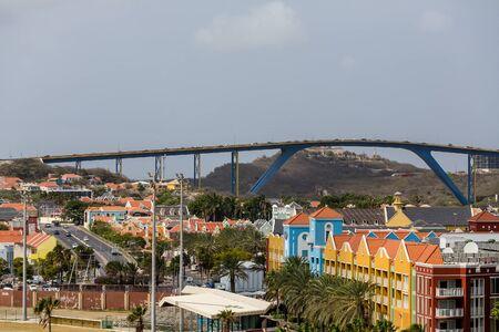 curacao: Traffic Over High Blue Bridge in Curacao