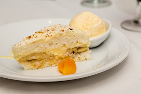 Banana Cream Pie and Ice Cream garnished with apricot