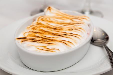 browned: Browned Meringue on Baked Alaska on dinner table