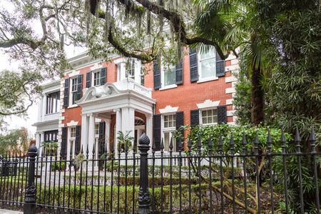 Brick Mansion Behind Wrought Iron in Savannah
