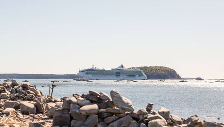 Cruise Ship Moored at Low Tide in Bar Harbor