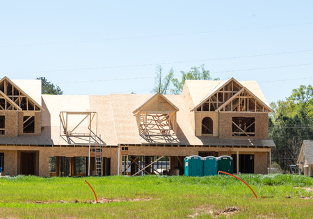 new construction: New row house construction in a neighborhood Stock Photo