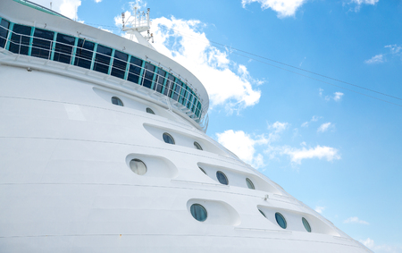 ship bow: Cabins on Bow of Luxury Cruise Ship Stock Photo