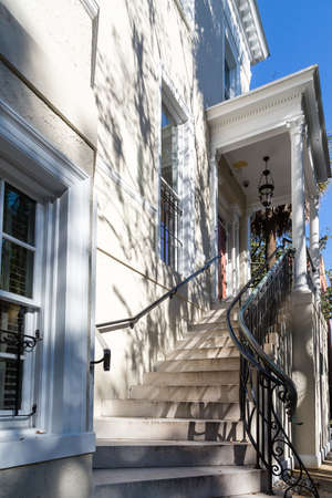 concrete steps: Concrete Steps to Traditional House in Savannah Stock Photo