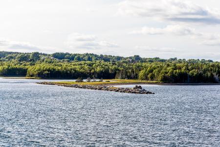 dike: Dike on Coast of Canada near Halifax Stock Photo