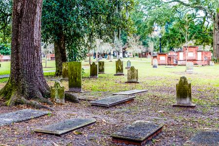spanish landscapes: Old stones in Savannah graveyard