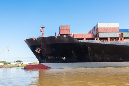 freighter: Massive Black Freighter sailing into Savannah River