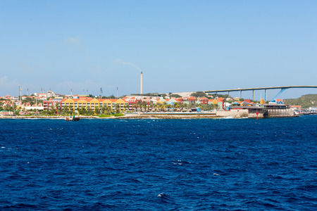 juliana: The Queen Juliana Bridge on Curacao with colorful architecture Stock Photo