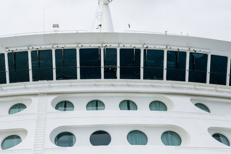 ship bow: Portholes on the bow of a large luxury cruise ship