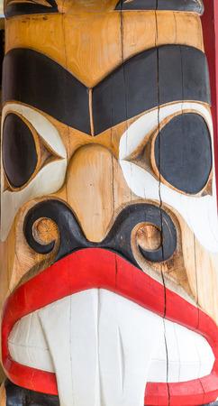 northwest indian art: Beaver Totem Pole closeup